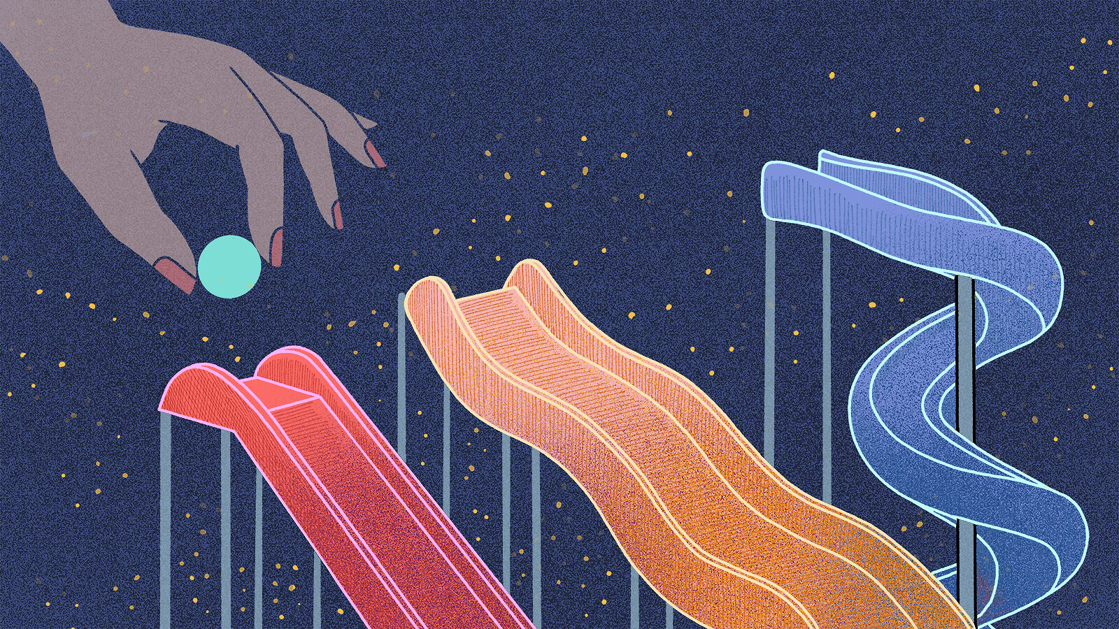 Illustration of hot, warm, and cold dark matter particle marble run