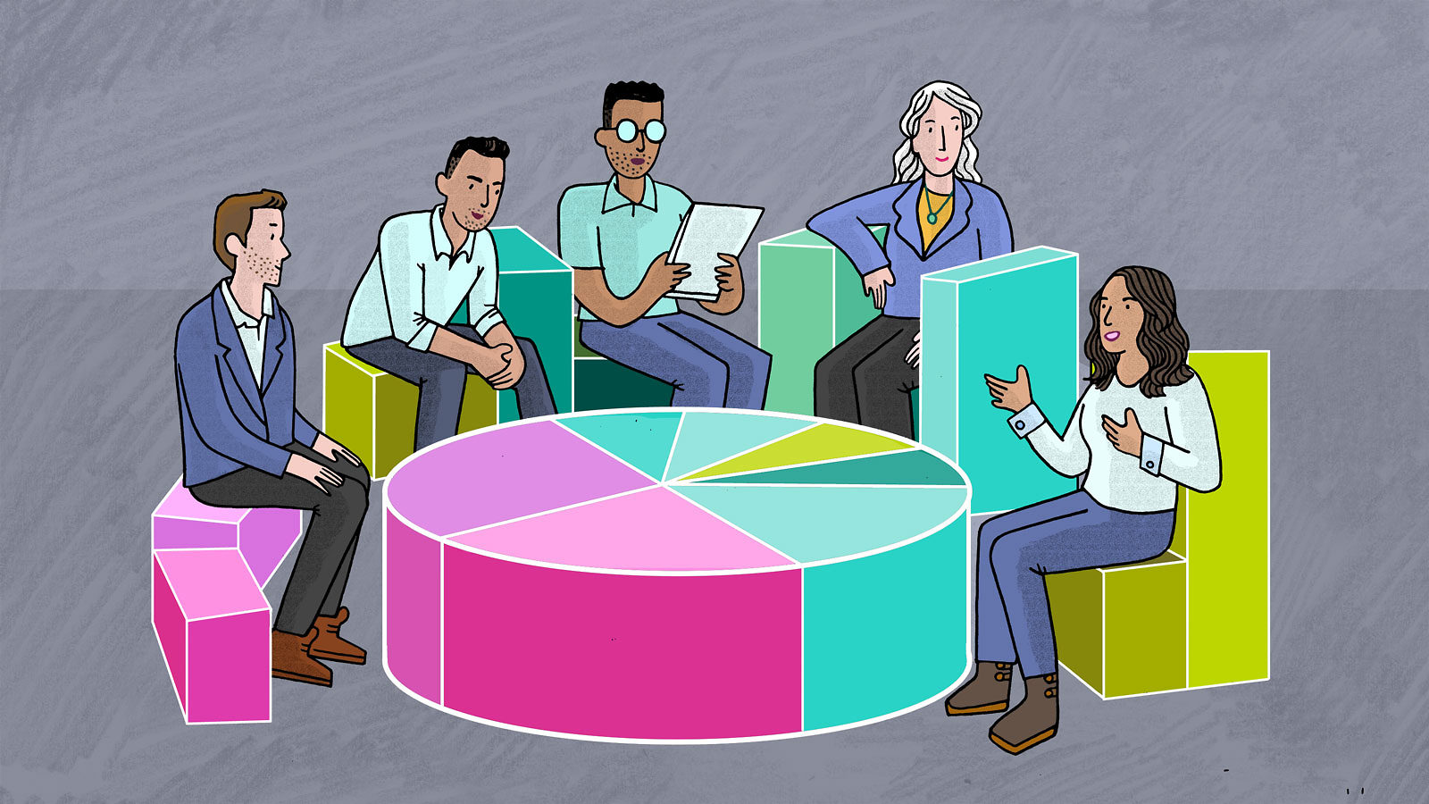 An illustration of a group of people having a discussion
