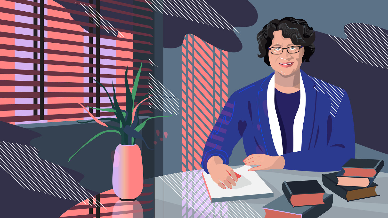 Illustration of Lia Merging seated at a desk