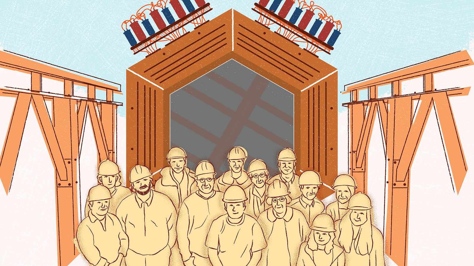 An illustration of a group of people in front of the MINERvA detector