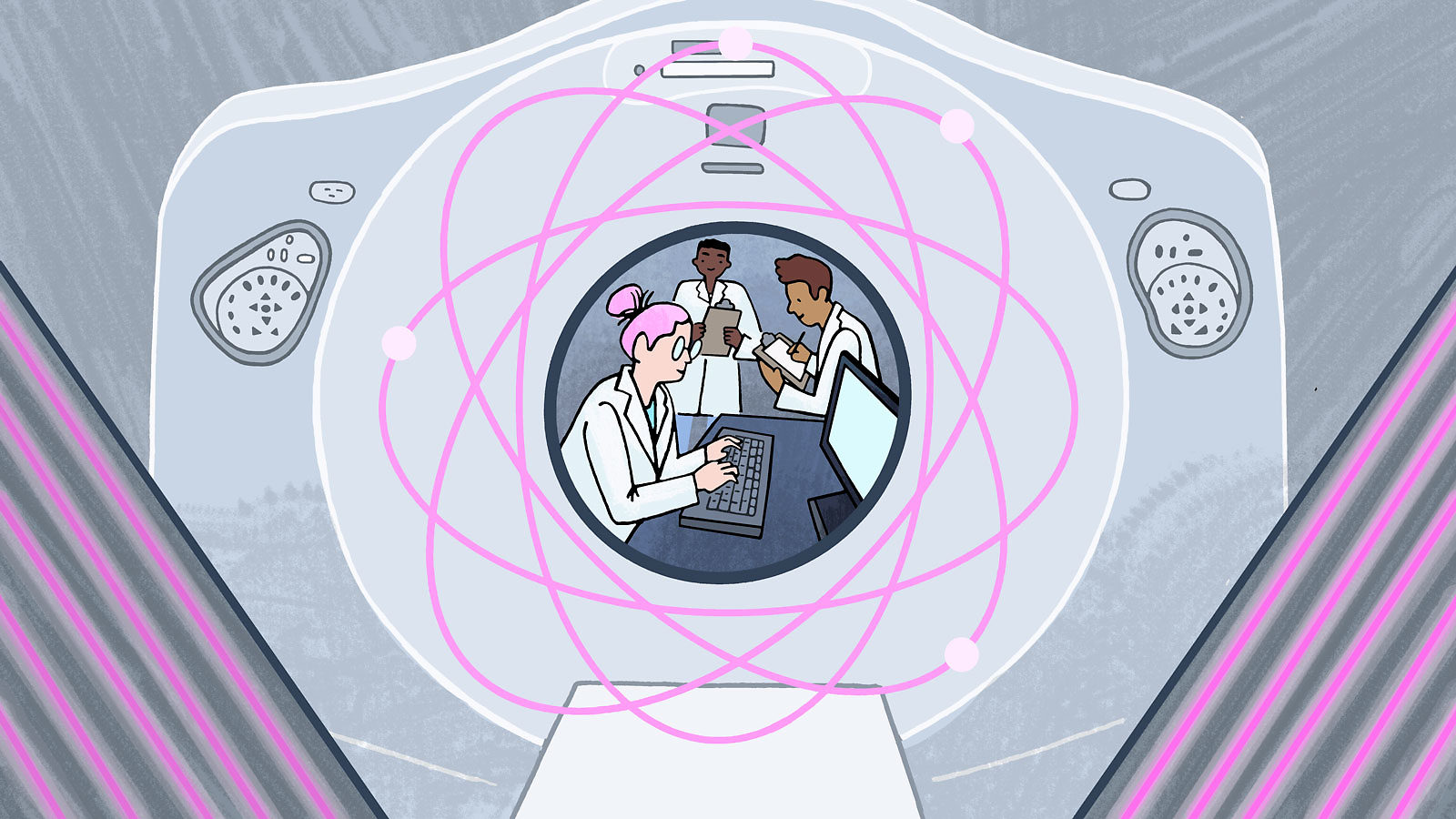 Medical scientists shown working through an MRI