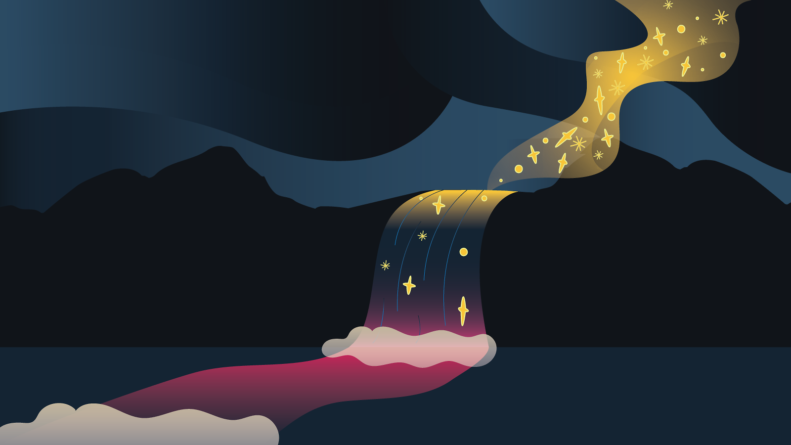 Illustration of river of stars in the sky flows into waterfall and river