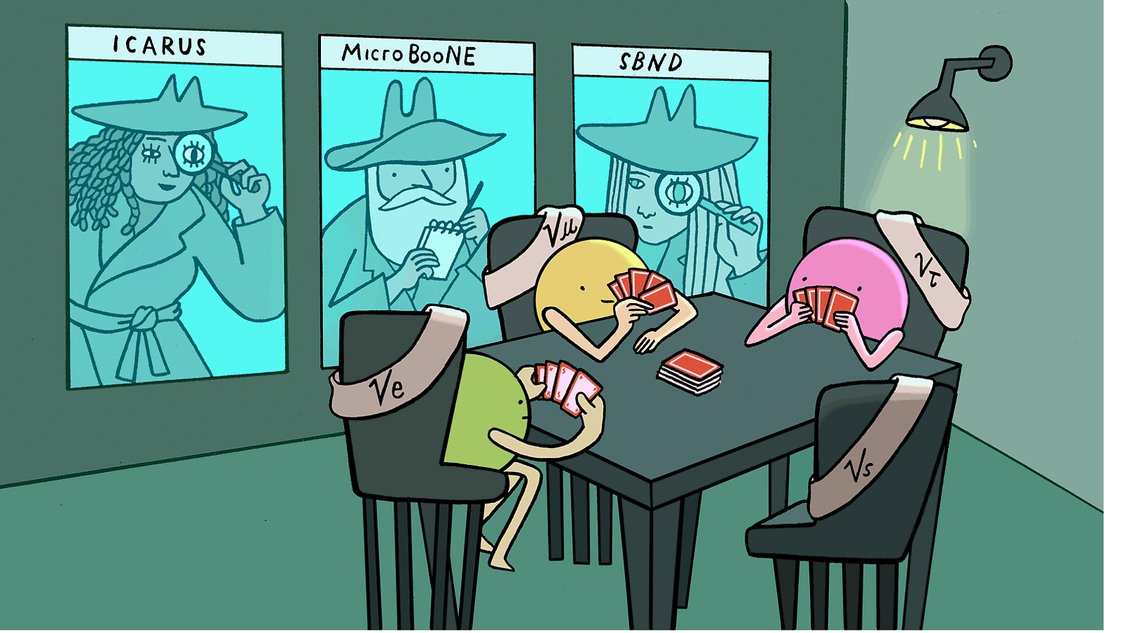 Illustration of sterile neutrino sleuths watching particles play card game