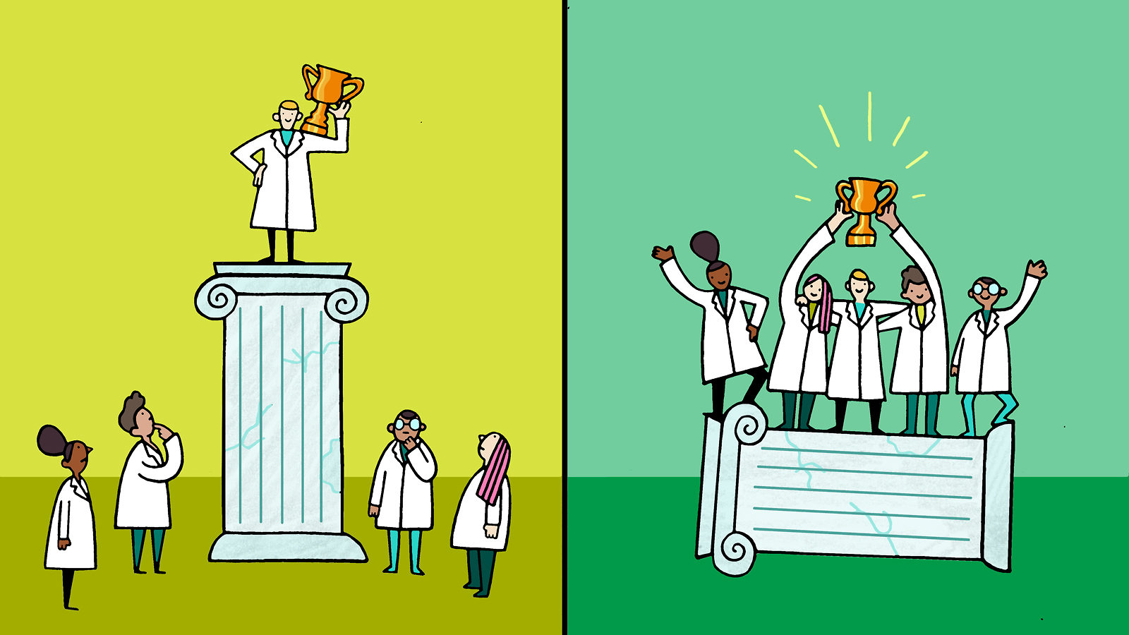 Illustration of scientists winning a prize