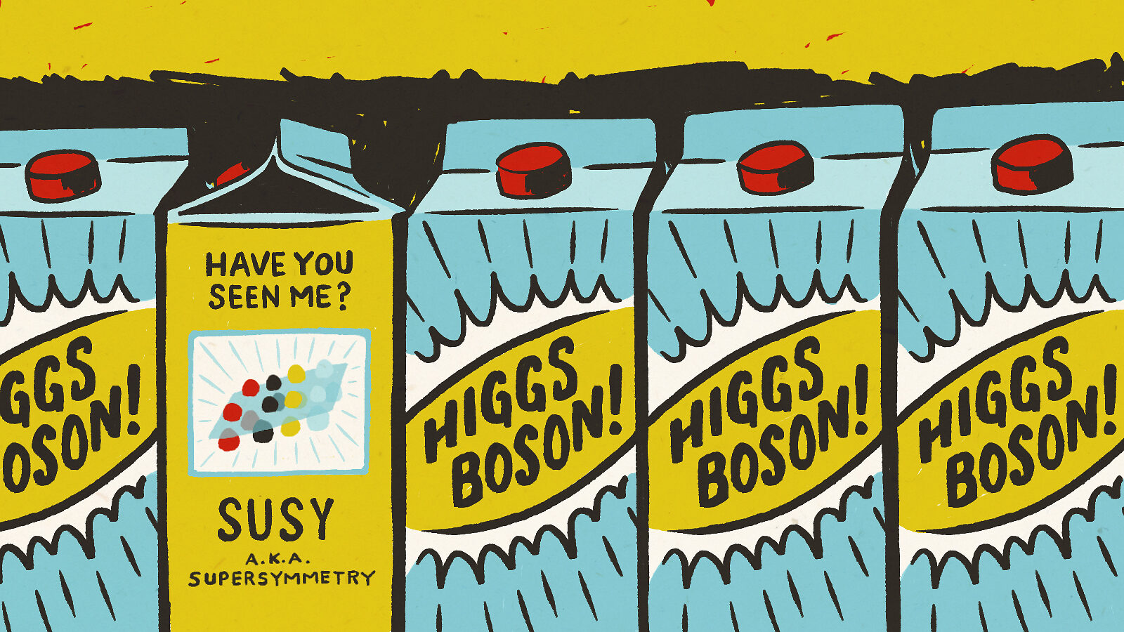"Illustration of Higgs Boson ""milk cartons"" with SUSY designated as missing"