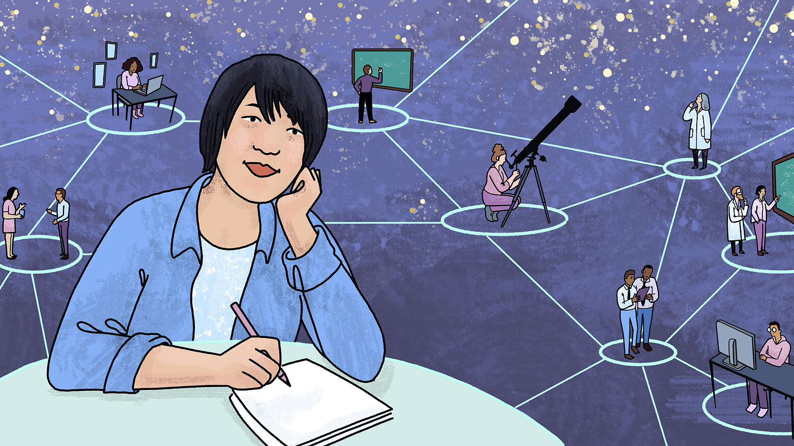Illustration of Sal Fu She is shown as part of a connected network of scientists working on various projects