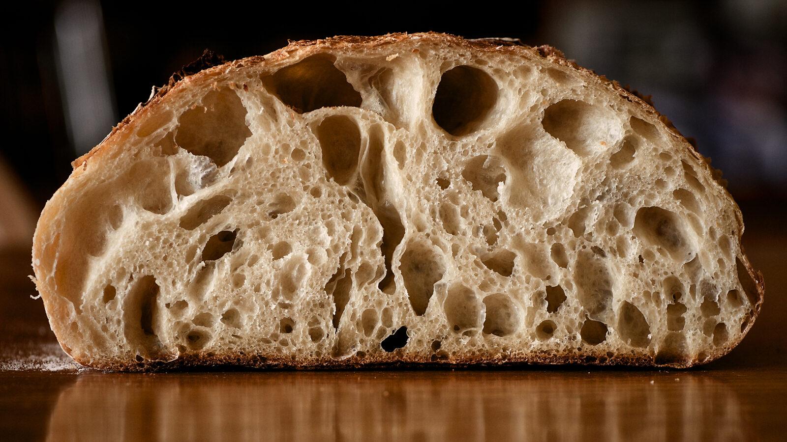 A slice of sourdough bread