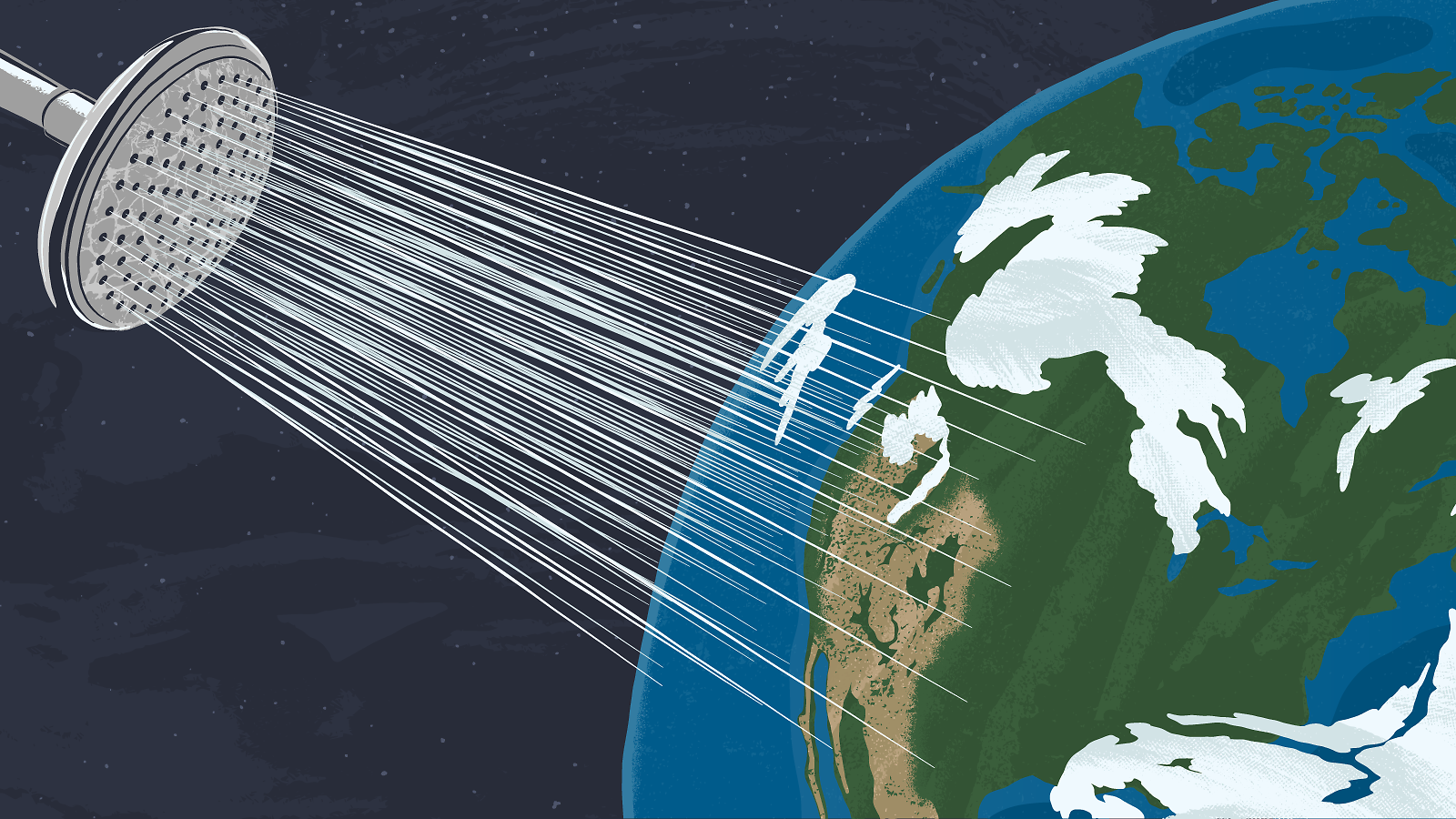 Illustration of the earth taking a shower