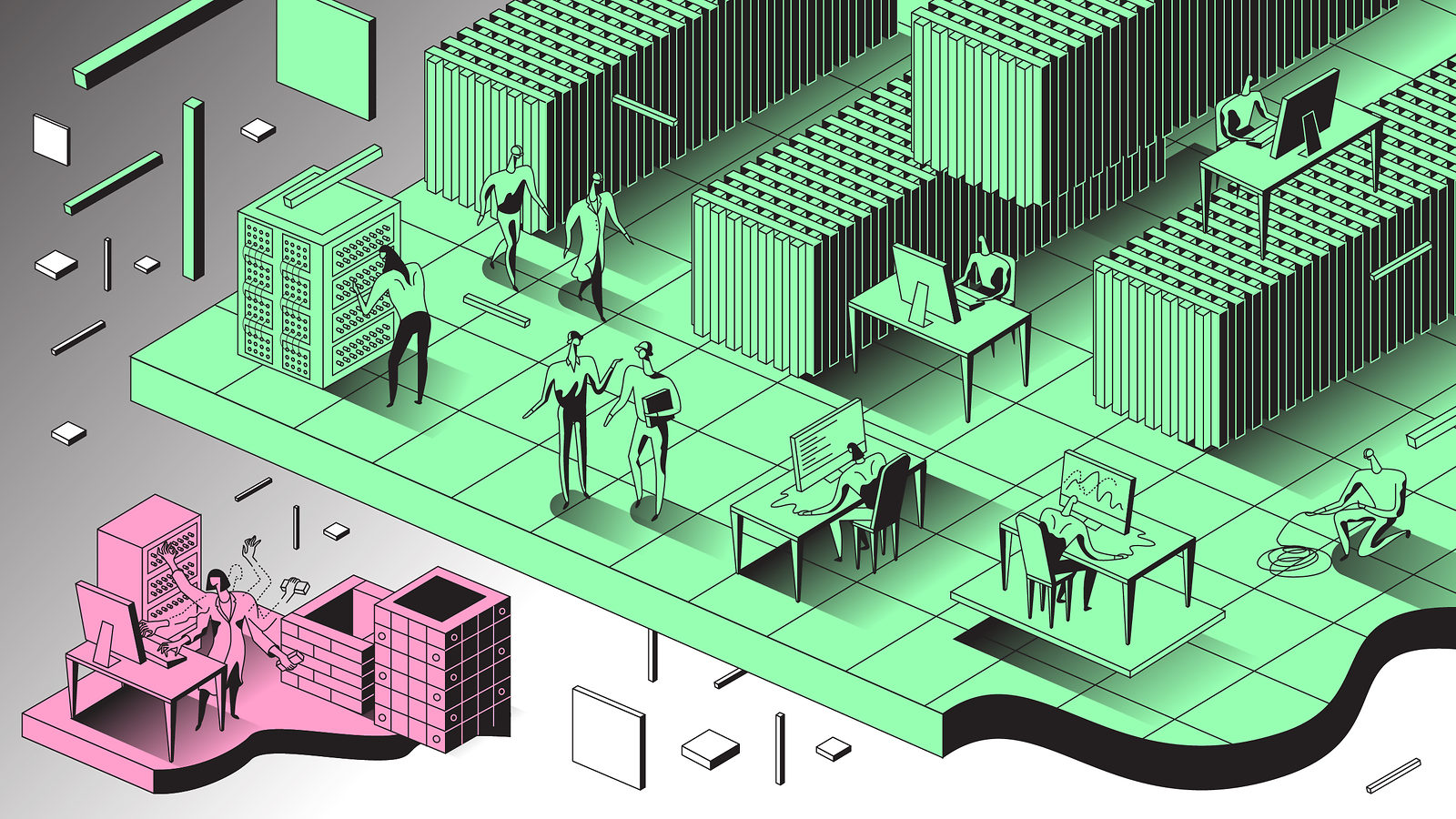 Illustration of people in larger green offices vs one person in smaller pink office