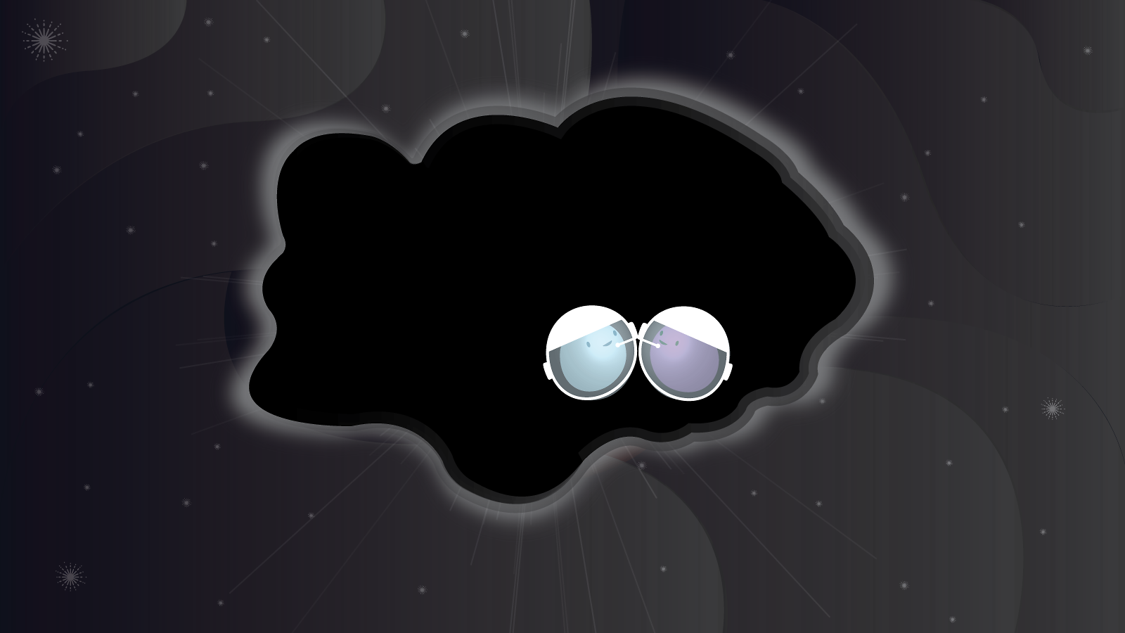 Illustration of two particles wearing space helmets meeting in a cloud of dark matter