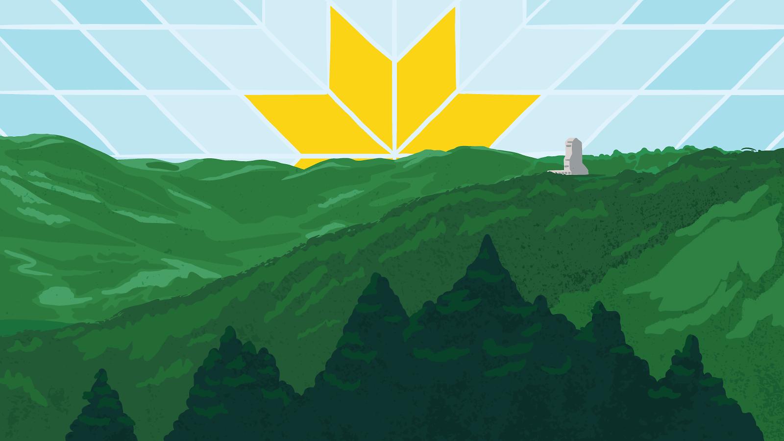 Illustration: A Lakota star rises like the sun behind the Sanford lab area