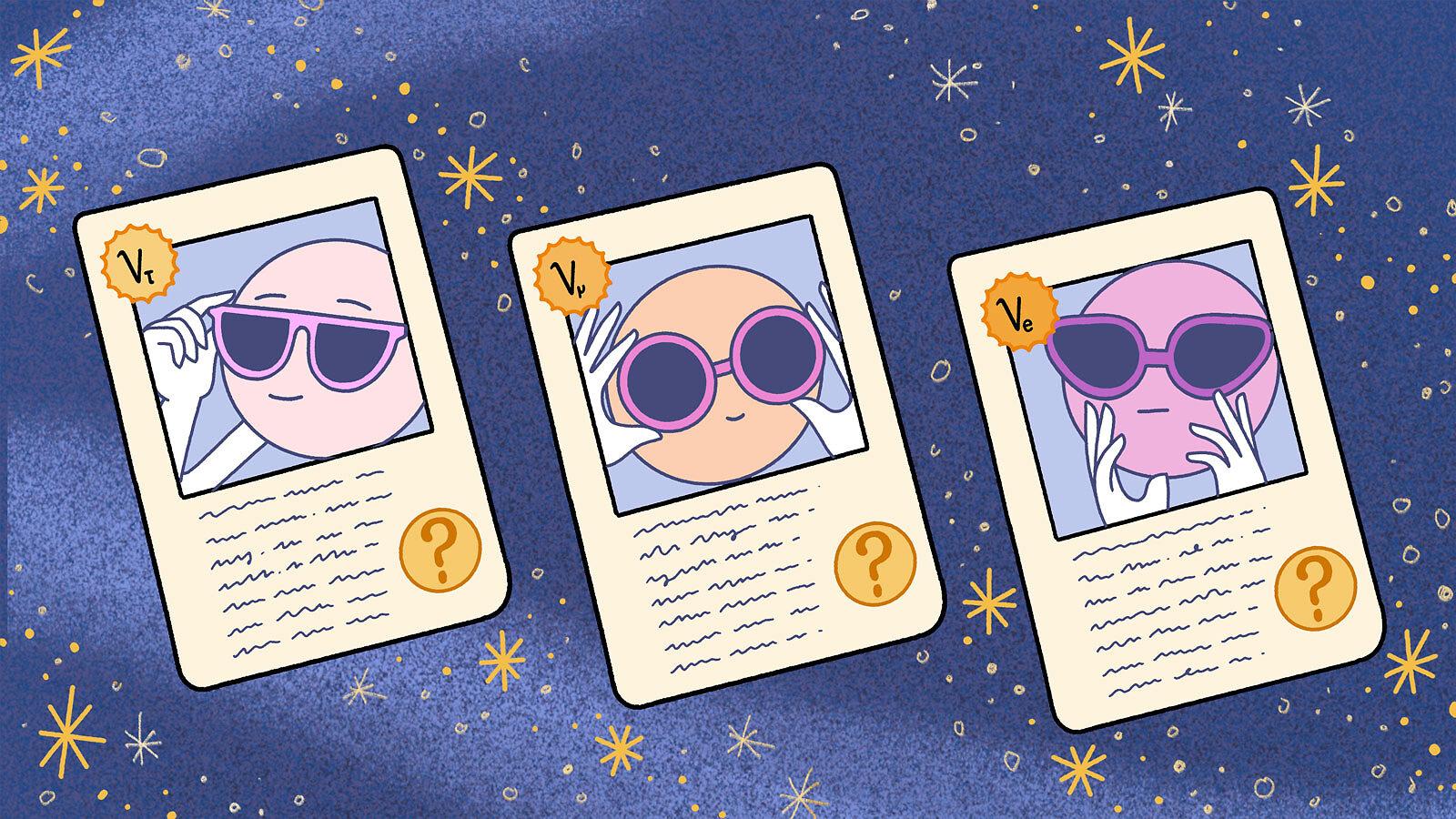Illustration of neutrino trading cards