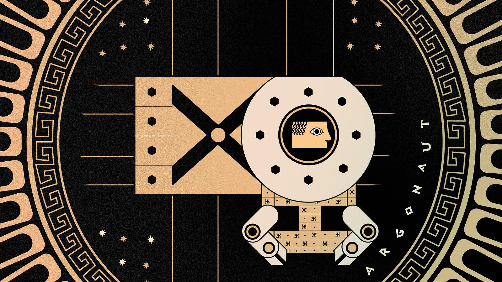Illustration of a Greek robot