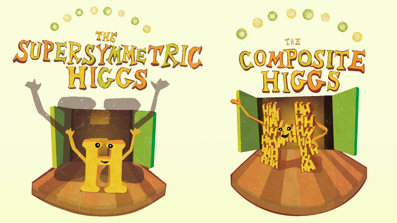 "Split screen of H on small stage with a ""The Supersymmetric Higgs"" title above, H made of smaller H's ""The Composite Higgs"""