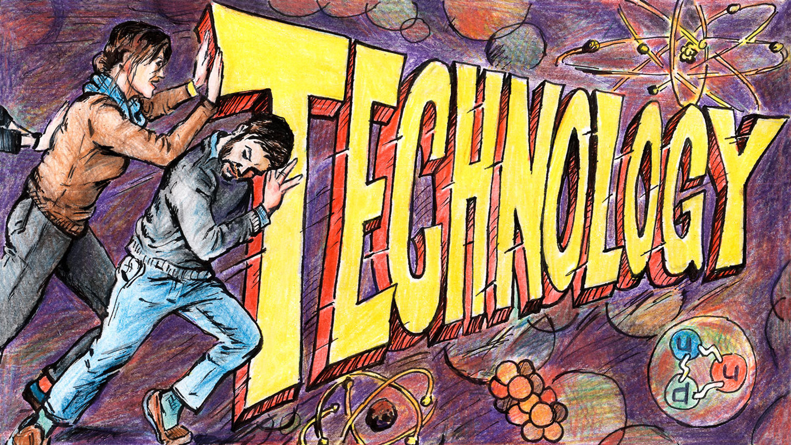 """Illustration of Instrumentation Frontier: Two men pushing the word """"Technology"""""""