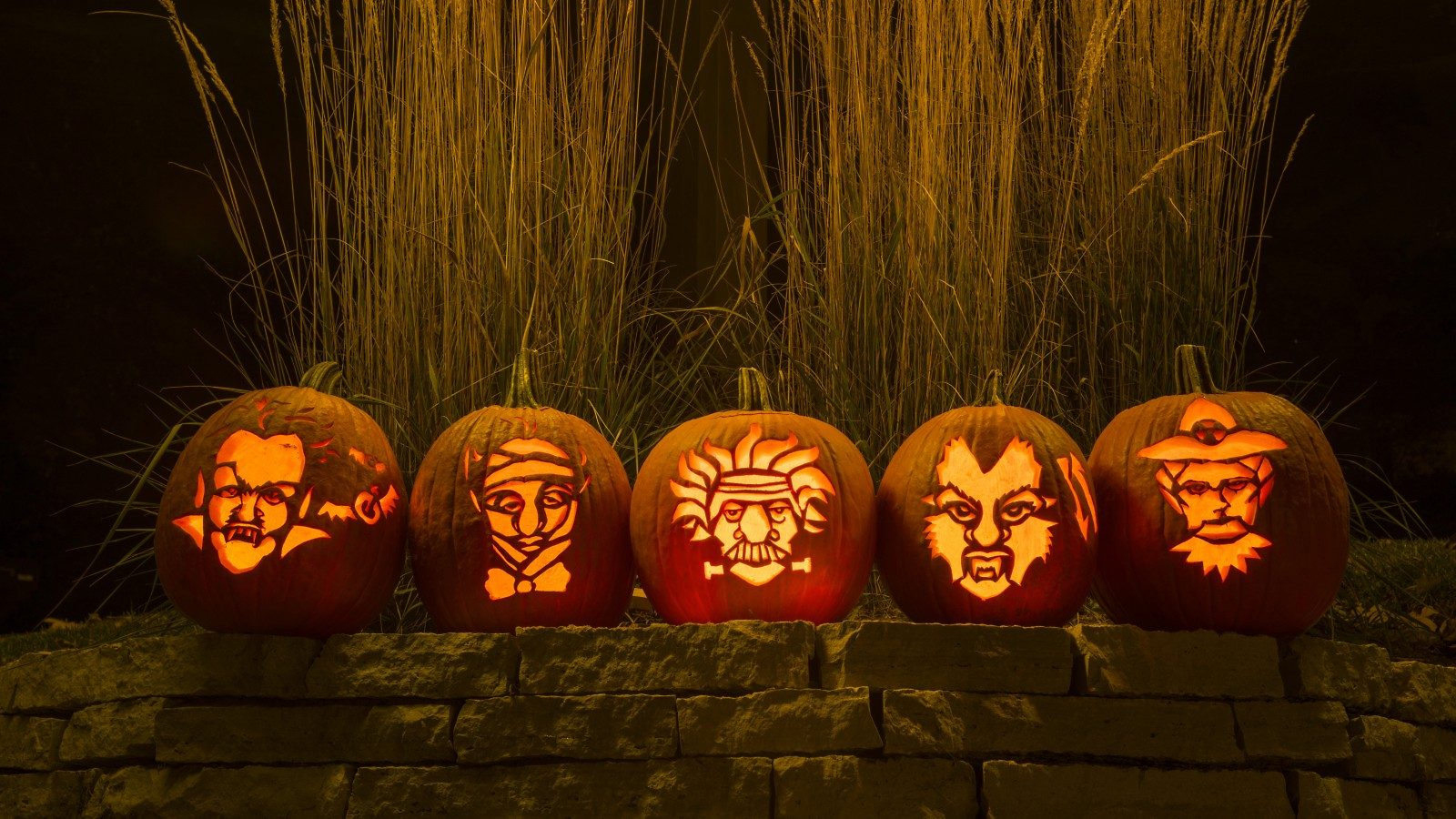 Photo of Jack o' Lanterns lined up