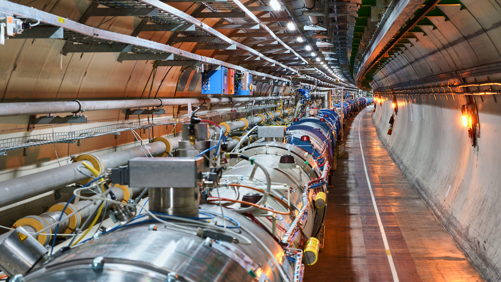 Photograph of the LHC tunnel