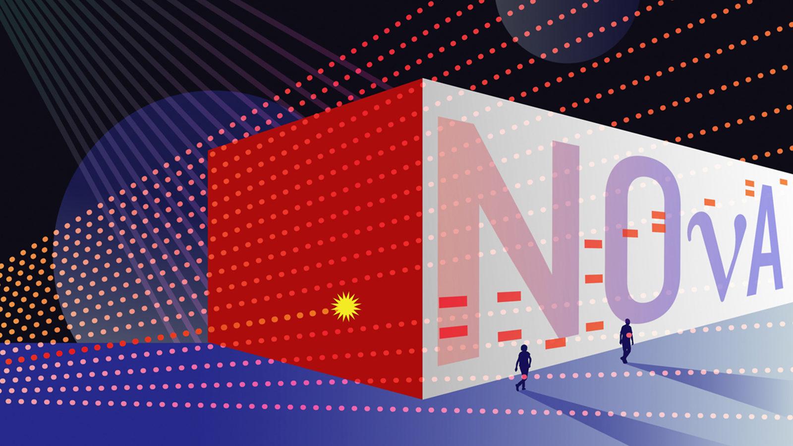 "Illustration of ""NOvA"" written on wall with people walking past it, light rays over illustration"