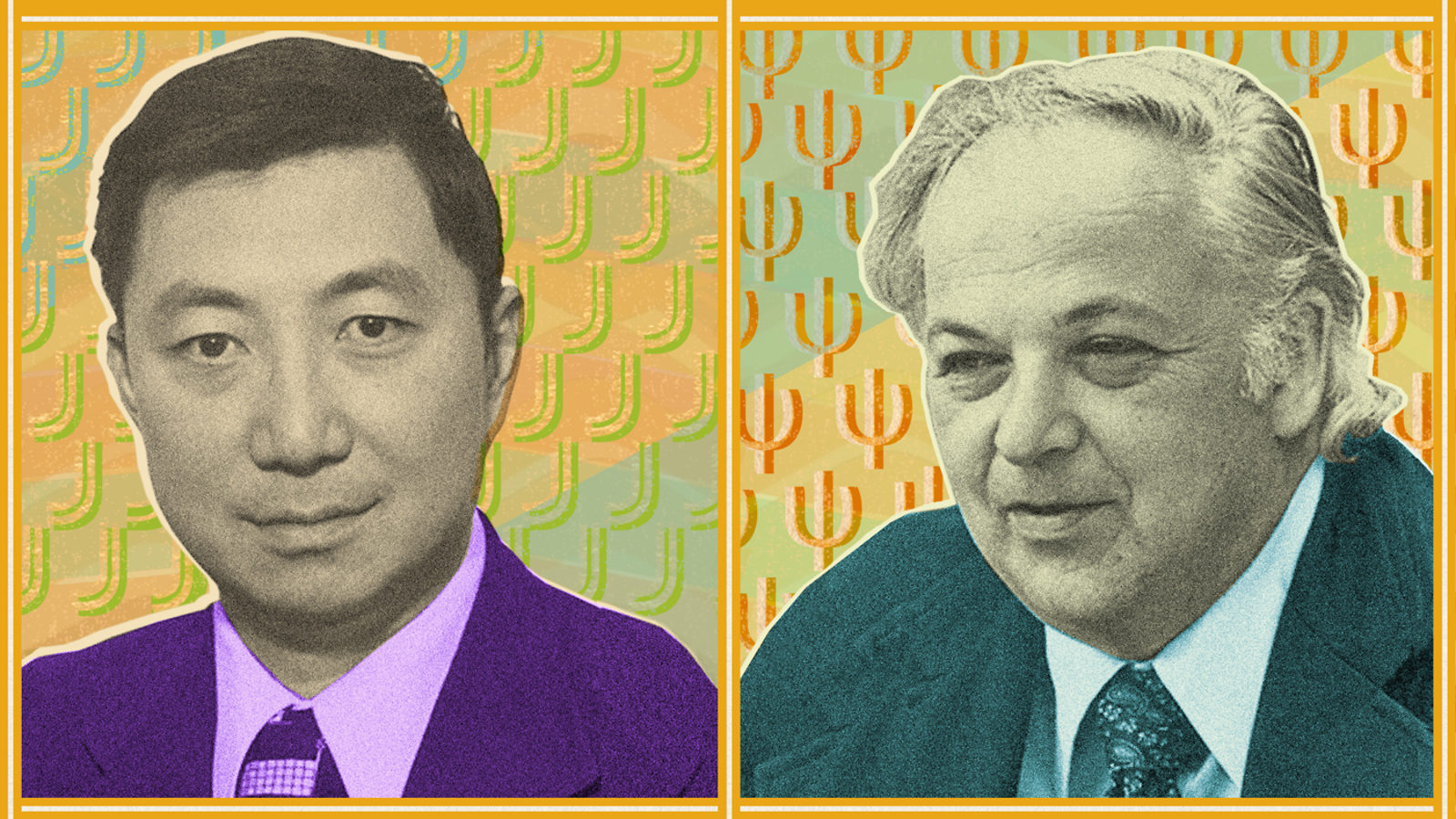 Collage illustration of Sam Ting and Burton Richter