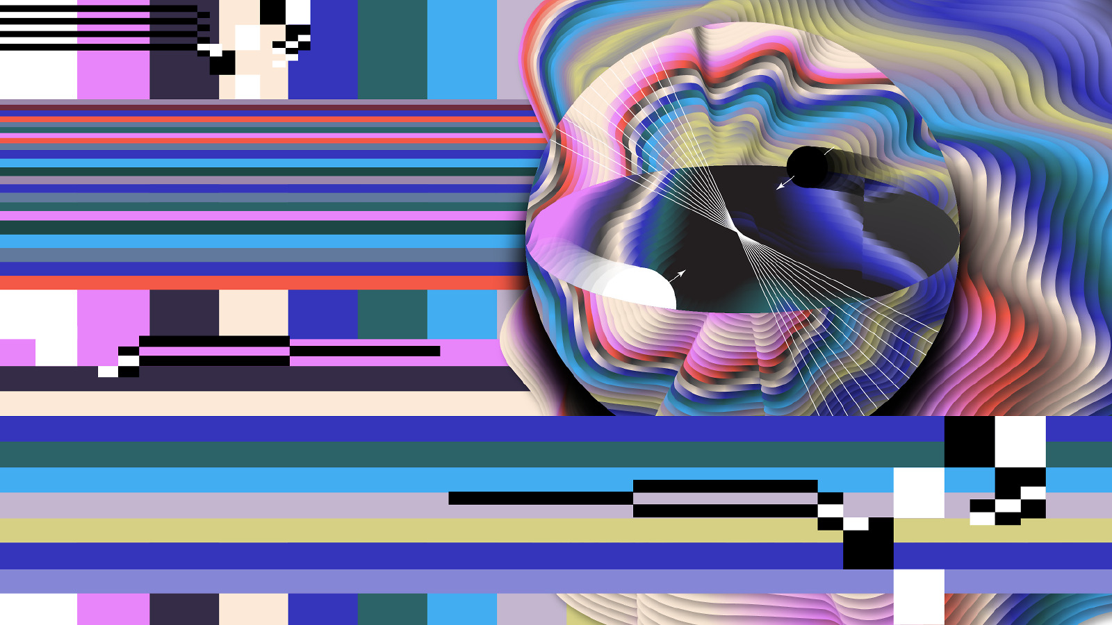 Illustration of rectangular strips of color running from left to right and top to bottom. Sphere with waves of color coming out