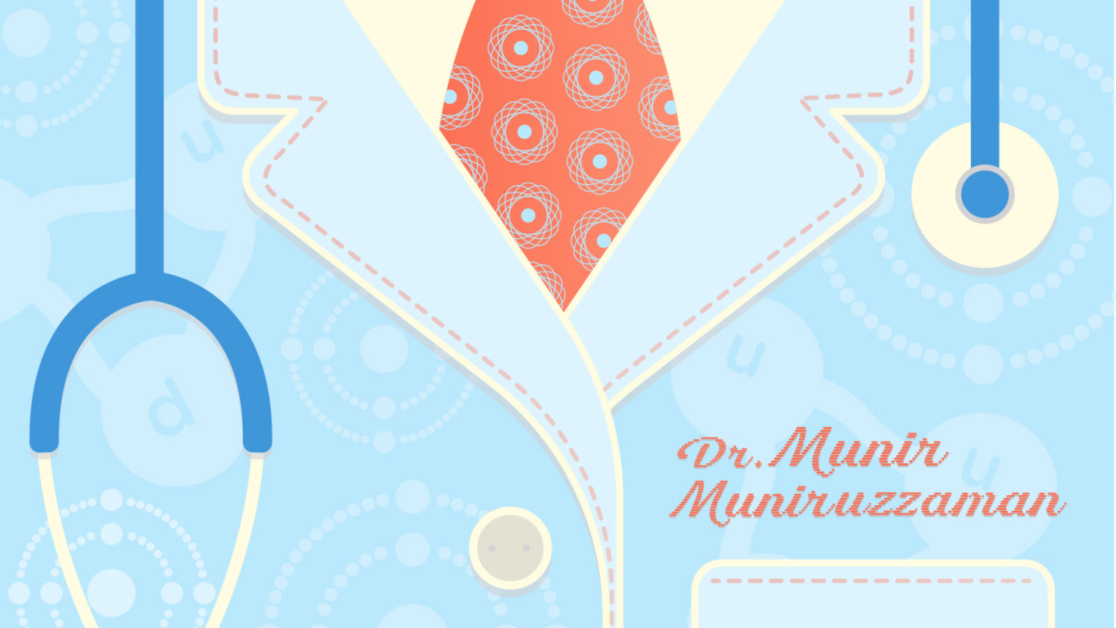Illustration of Munir Muniruzzaman's chest in doctors coat, tie, and stethoscope