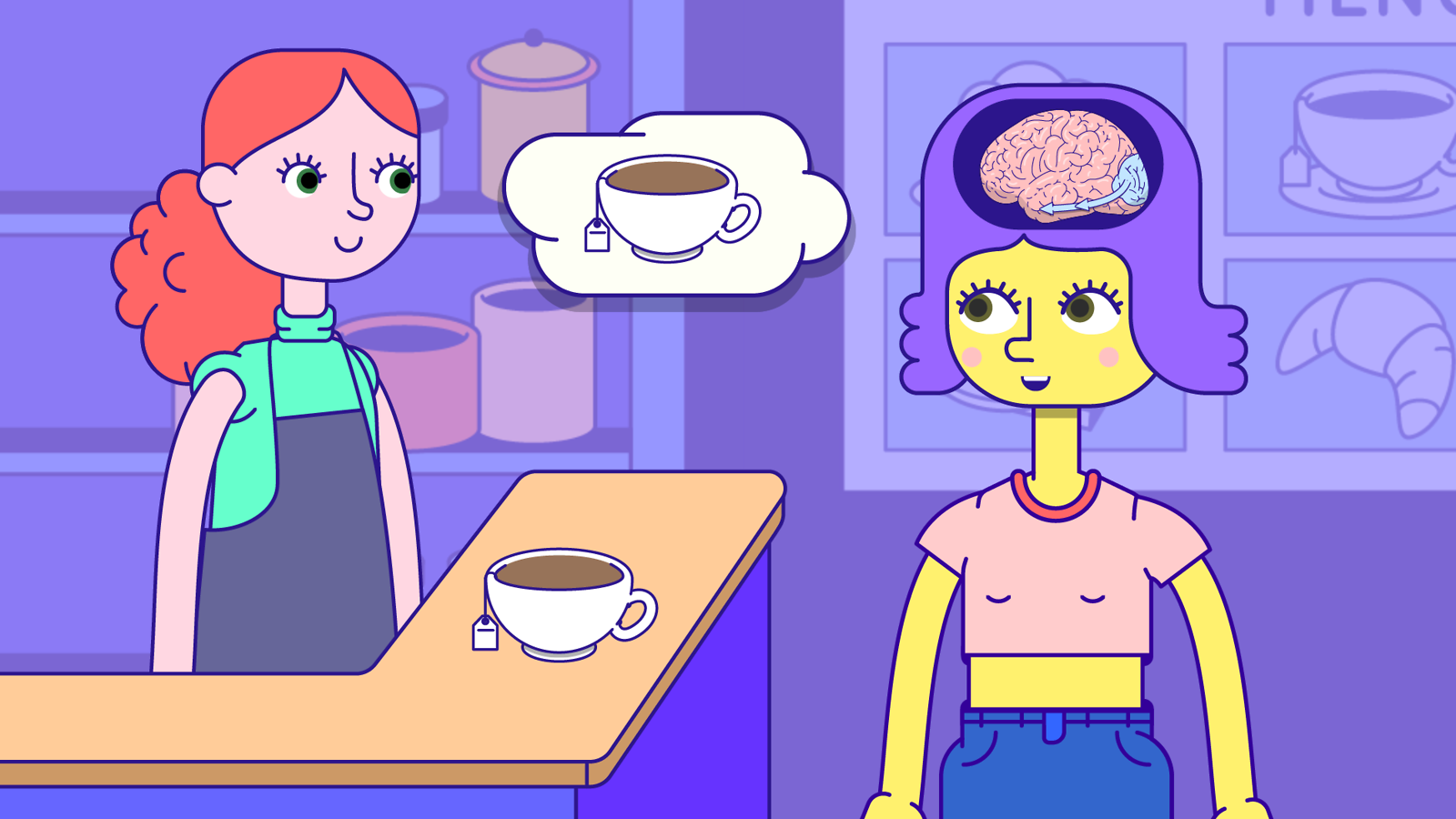 Illustration of cartoon, a thought bubble between a barista and a customer contains a cup of coffee