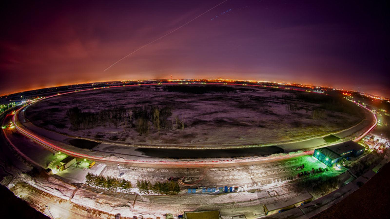 Photo: Tevatron at night