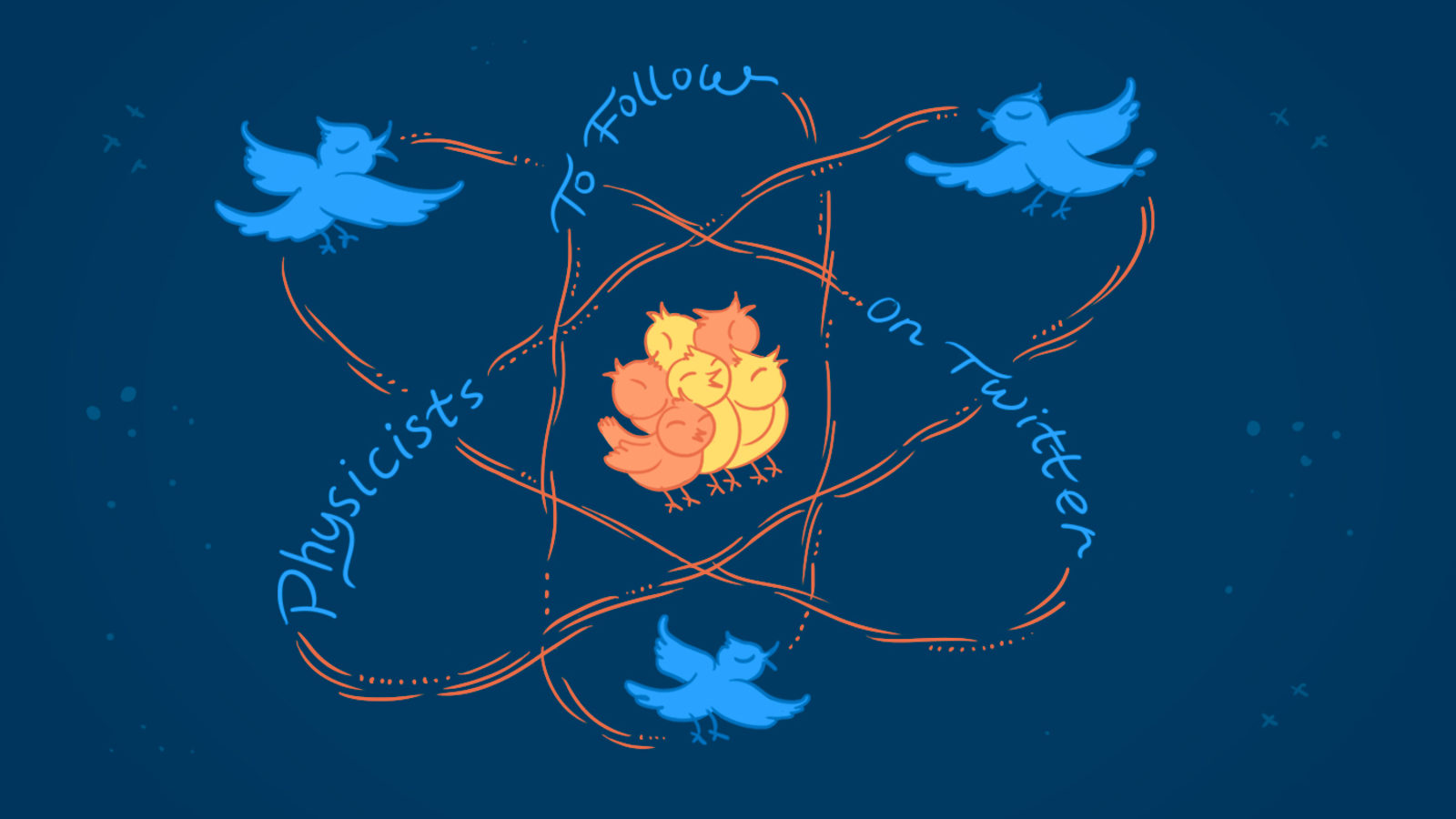 "Illustration of twitter birds moving in atom movement that says ""Physicists To Follow On Twitter"""