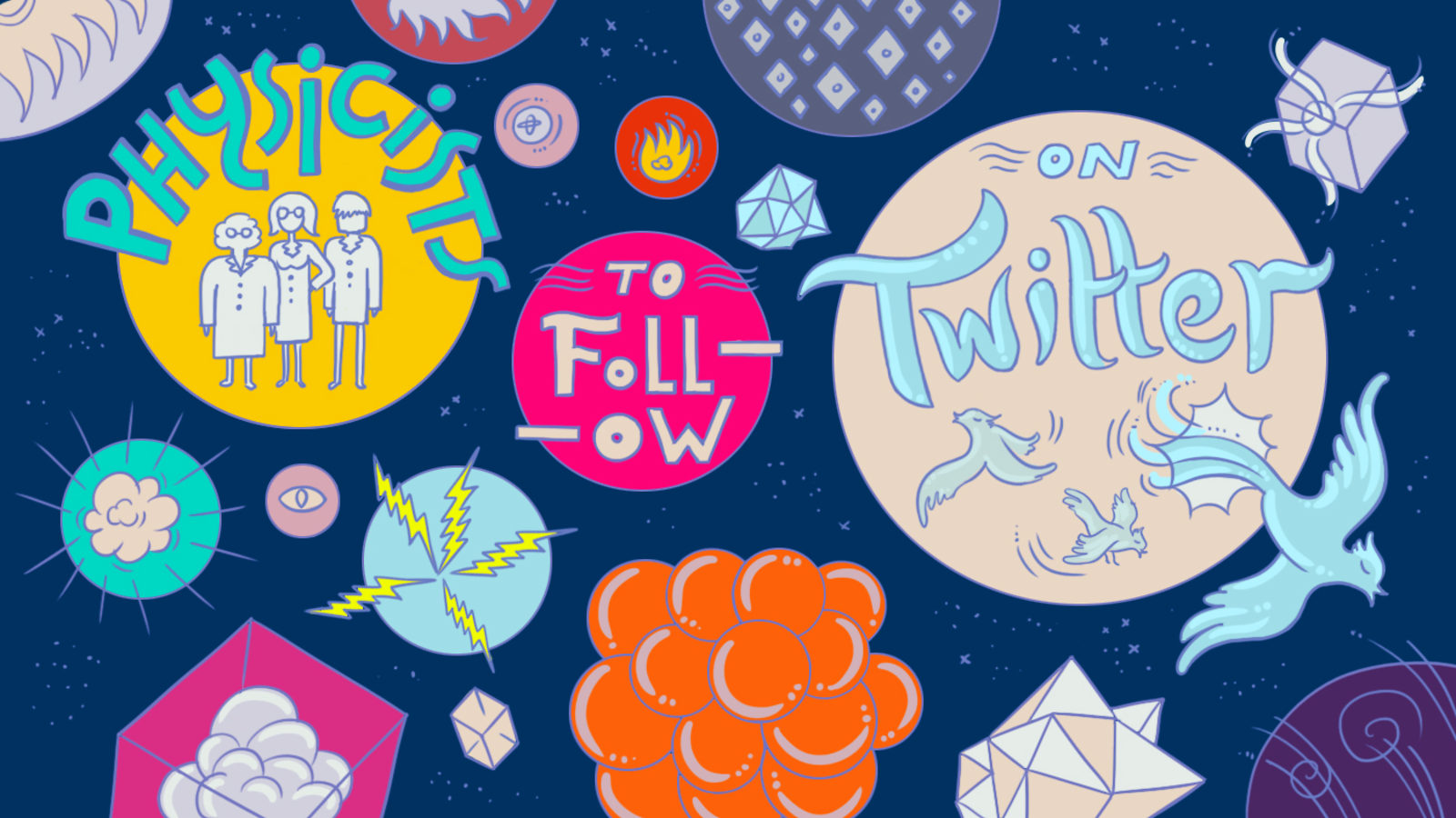 Illustration of physicists to follow on Twitter