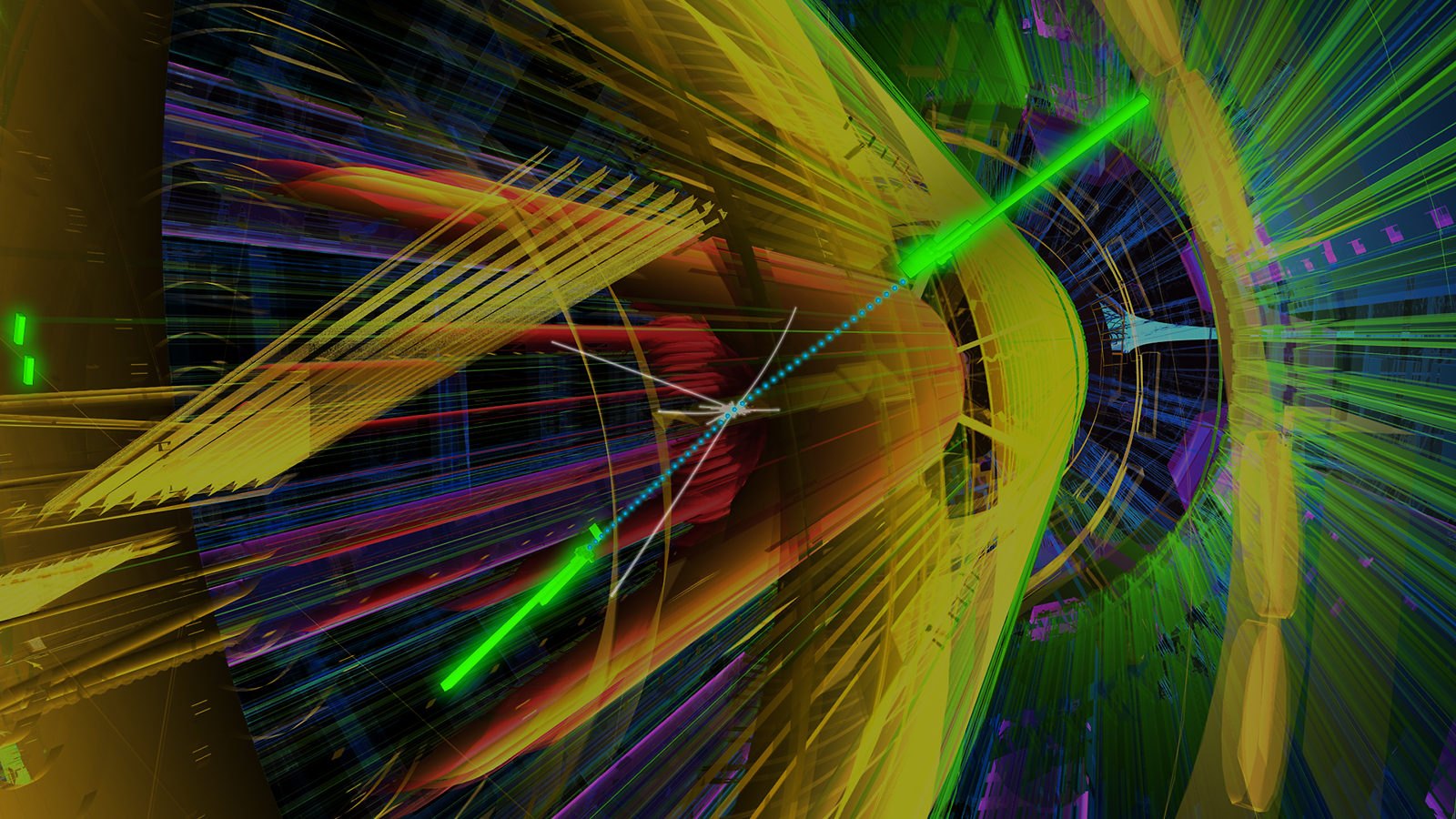 Illustration of a particle collision inside the Large Hadron Collider