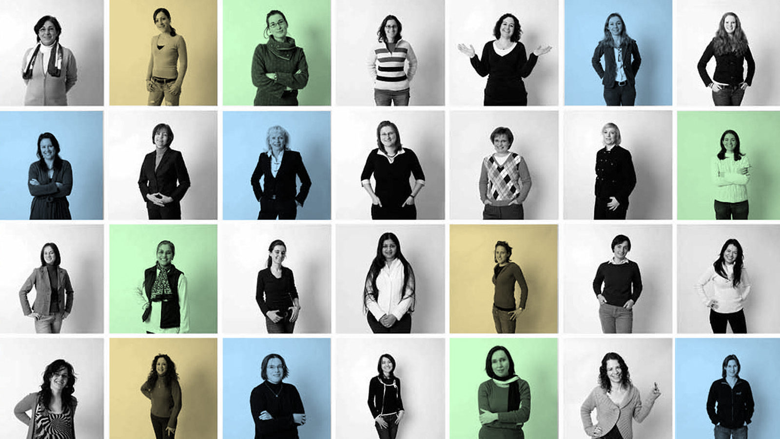 Grid 7X4 of photos of women in science