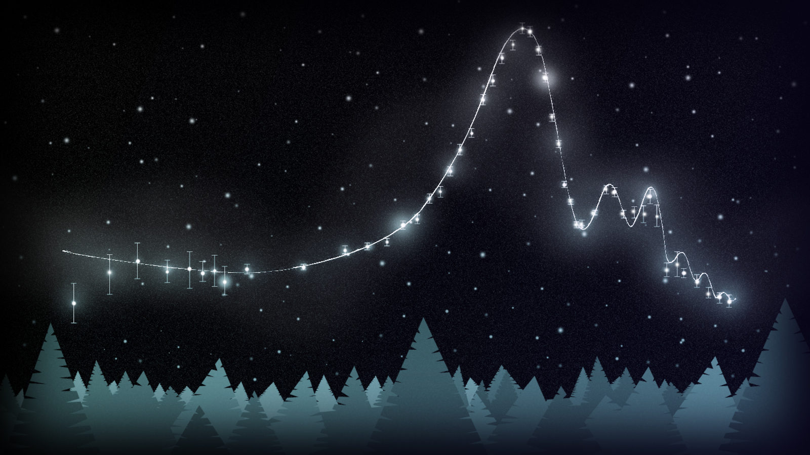 Illustration of Astrostatistics made out of stars in the sky, connected by light path, forest on horizon below