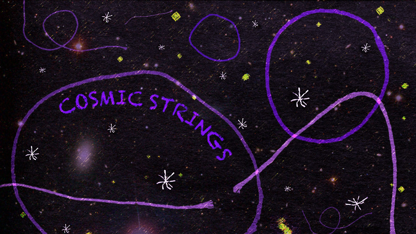 "Illustration of ""Cosmic Strings"" purple strings in space"