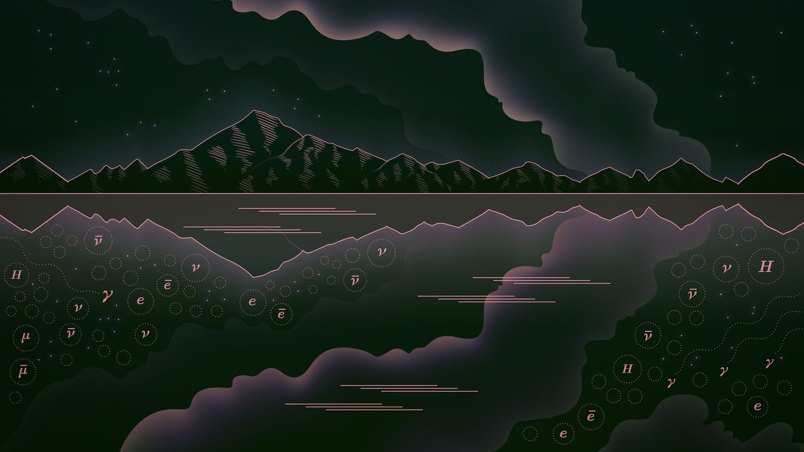 Illustration of black and pink mountains with smoke over lake with mirror reflection