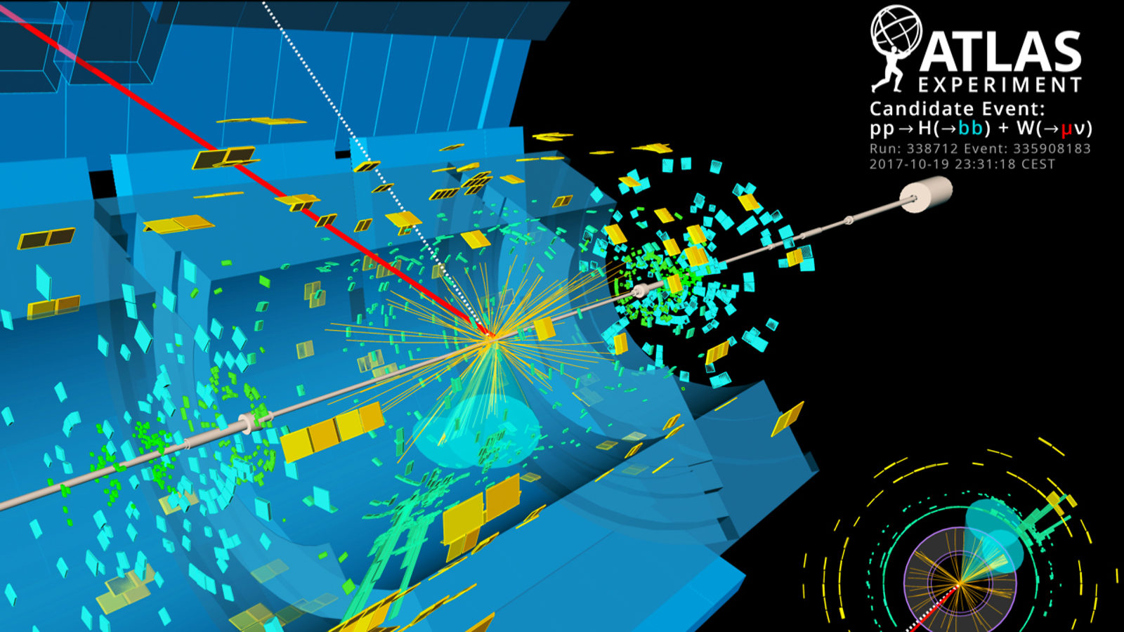 Image representing a particle collision in the ATLAS detector