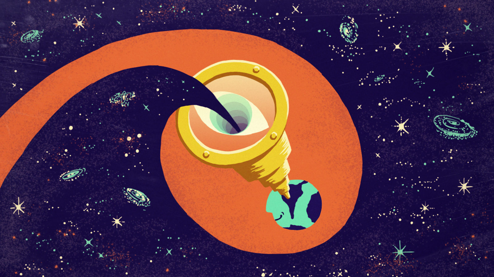 Illustration purple space, sea-foam green galaxies, planet in center, yellow telescope coming out of orange circle eye inside