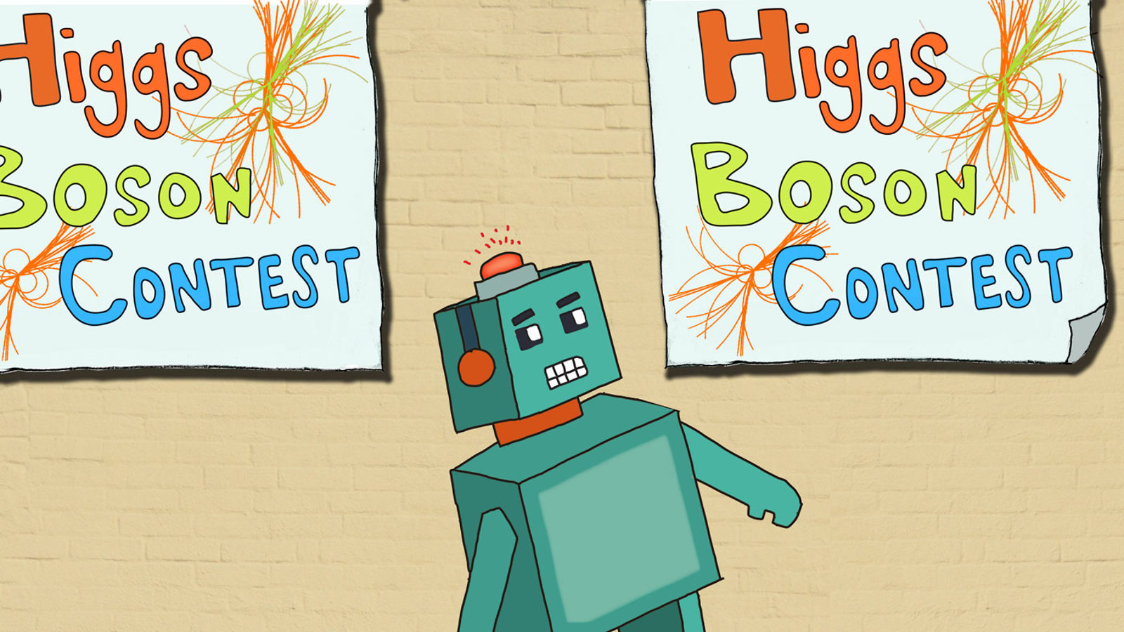 "Illustration of green robot looking at ""Higgs Boson Contest"" signs"