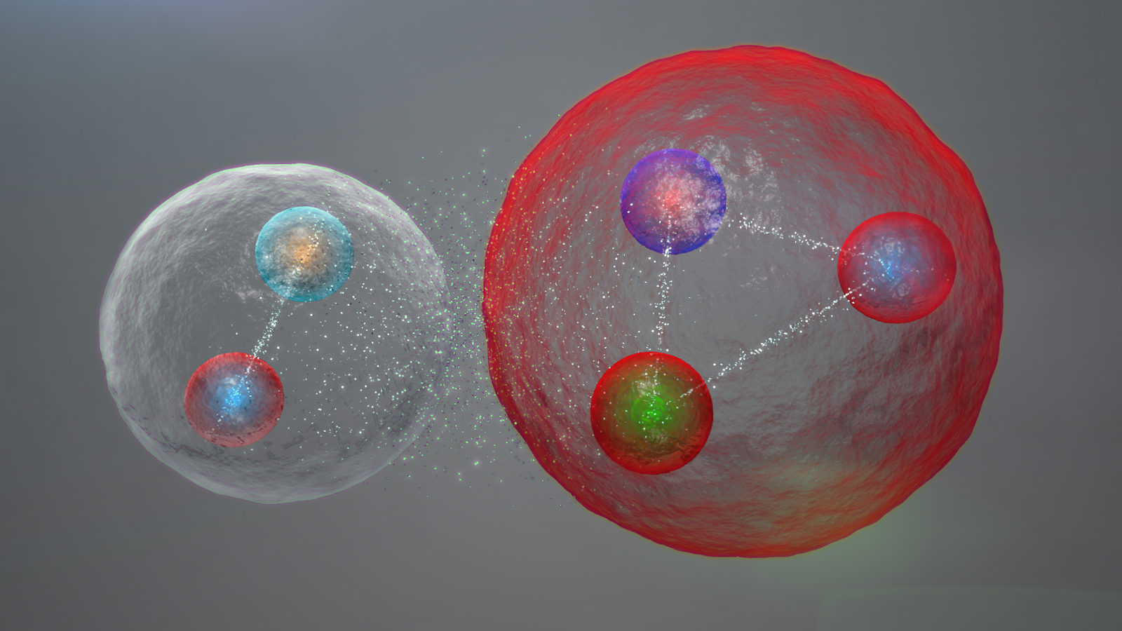 Illustration showing the pentaquark as a molecule