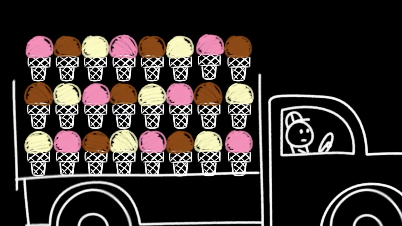 Illustration of man driving truck with ice cream cones in back
