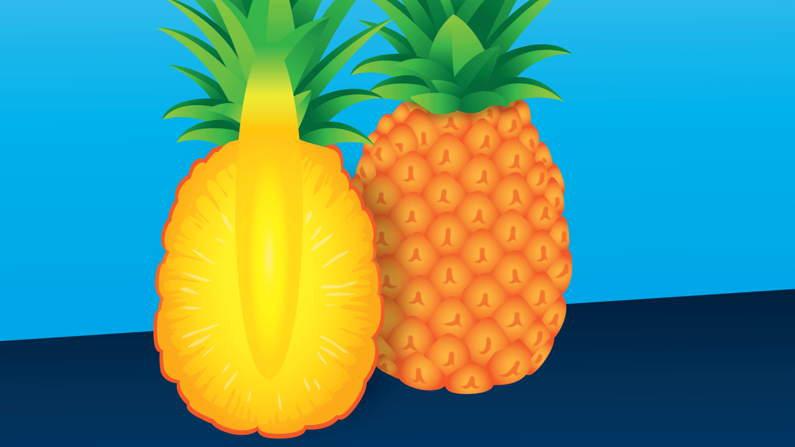 Illustration of pineapple (right) pineapple cut in half (left)