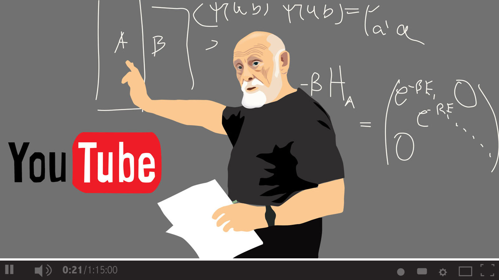 Illustration of Leonard Susskind on YouTube screen: Not just old codgers