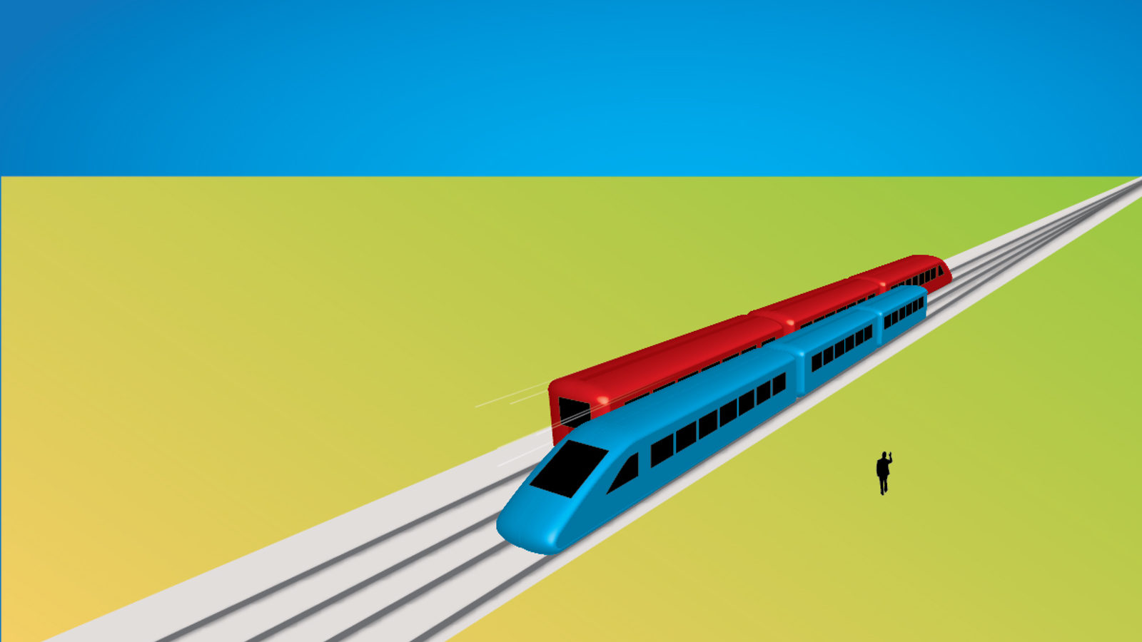 Illustration of red and blue train passing each other on tracks