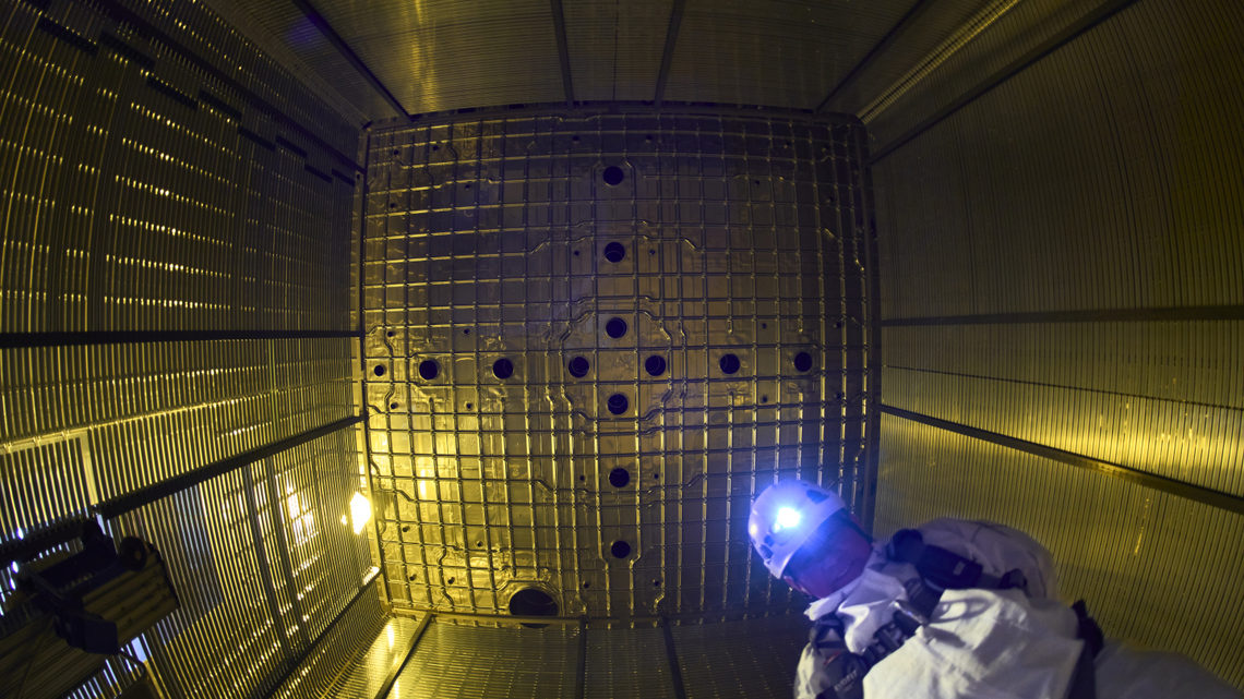 A technician with a hard hat within the detector