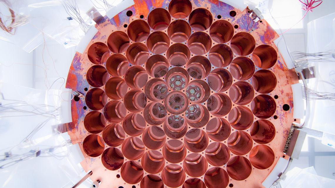 Una vista de la parte inferior del soporte PMT de LUX