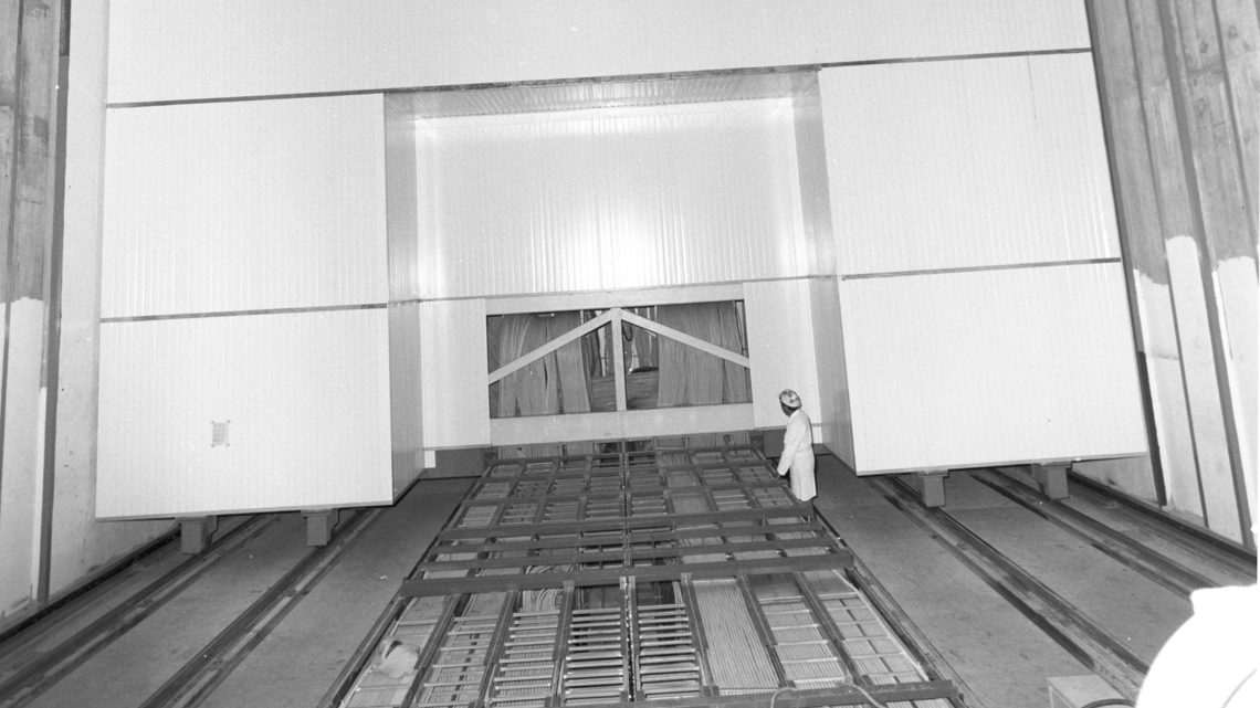 The UA1 experiment in the beam in ECX5, before the installation of the shielding wall.