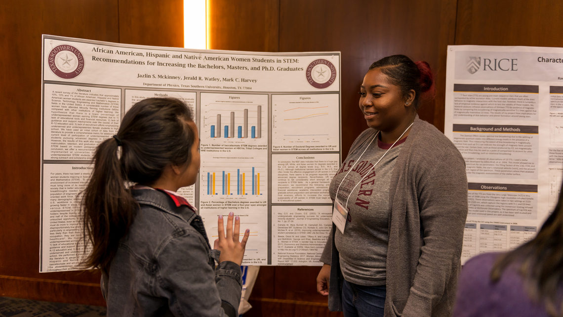 "Photo of Jazlin McKinney of TSU discusses her research topic, ""African American, Hispanic and Native American Women"