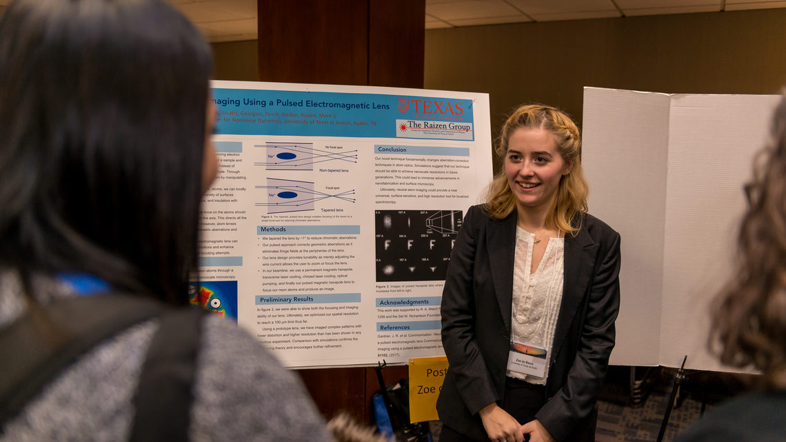Photo of Zoe de Beurs of the University of Texas at Austin describes her research project