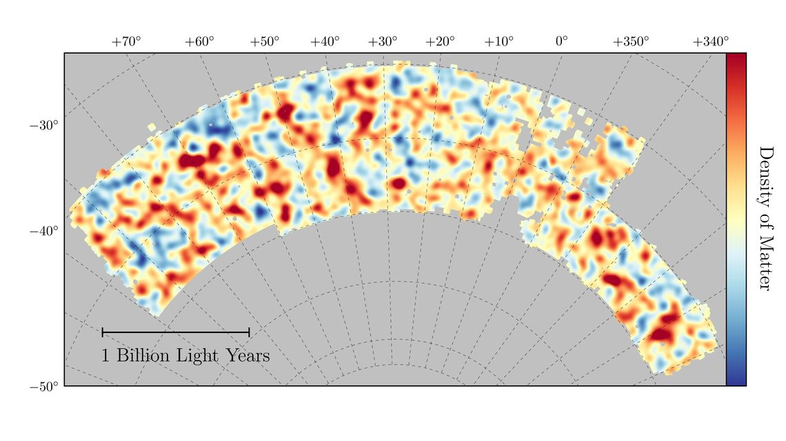 map of dark matter is made from gravitational lensing measurements of 26 million galaxies