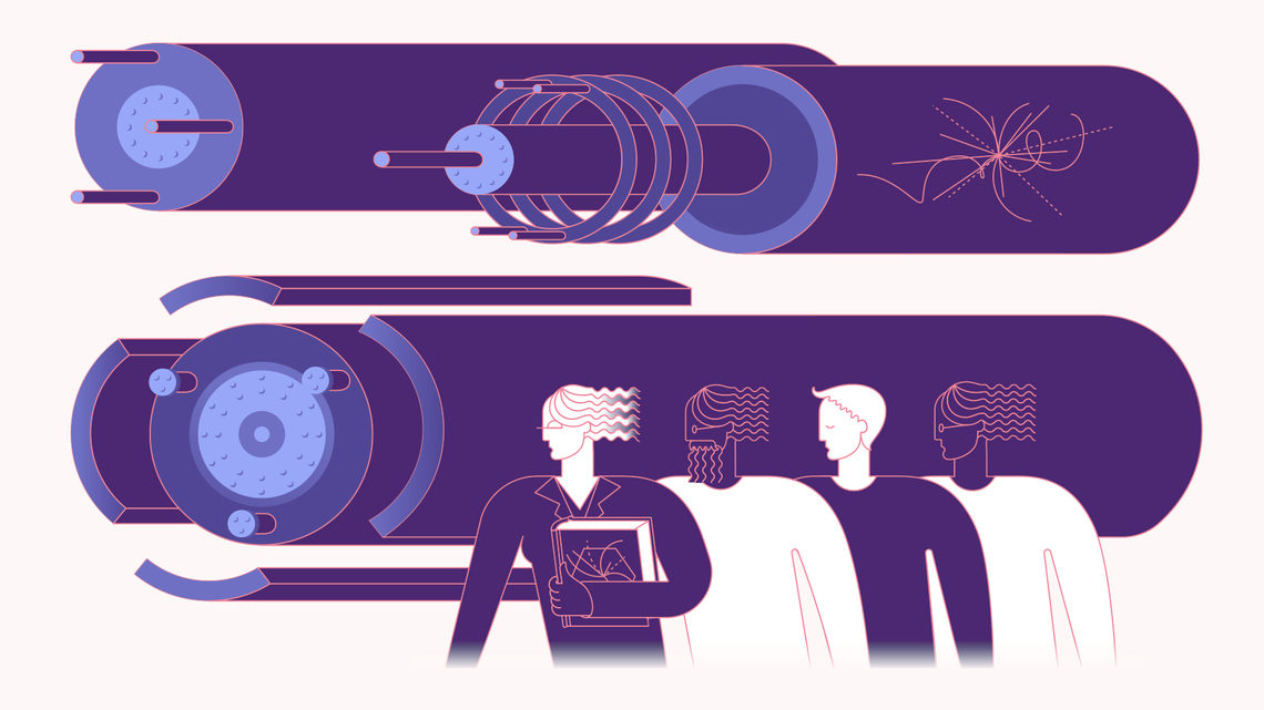 Illustration of four accelerator scientists looking at accelerator