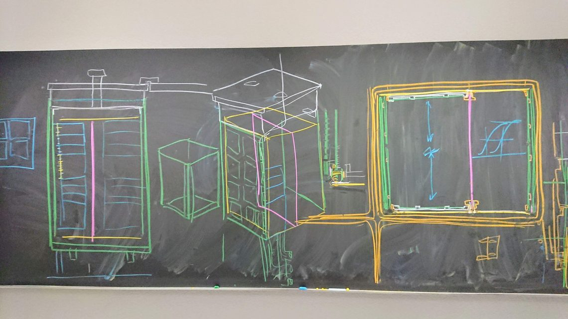 A blackboard drawing of an ArgonCube module